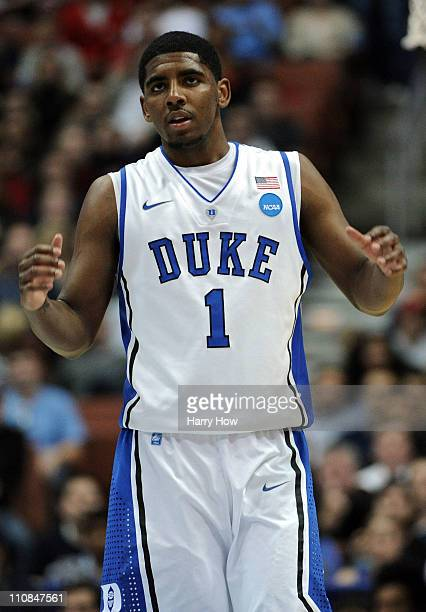 Kyrie Irving of the Duke Blue Devils looks on against the Arizona Wildcats during the west regional semifinal of the 2011 NCAA men's basketball...