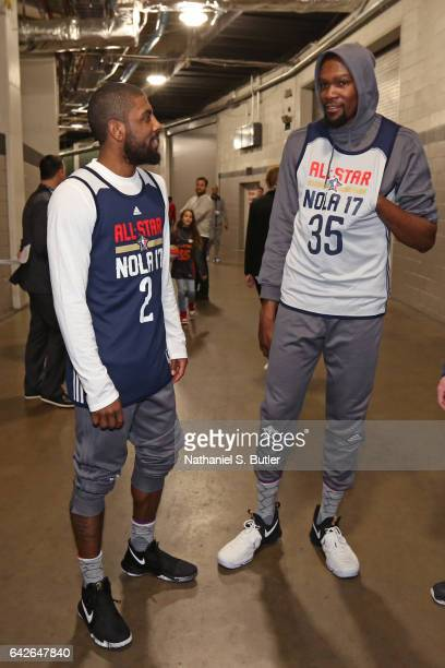 Kyrie Irving of the Eastern Conference All Star Team talks in the halls with Kevin Durant of the Western Conference All Star Team before NBA AllStar...