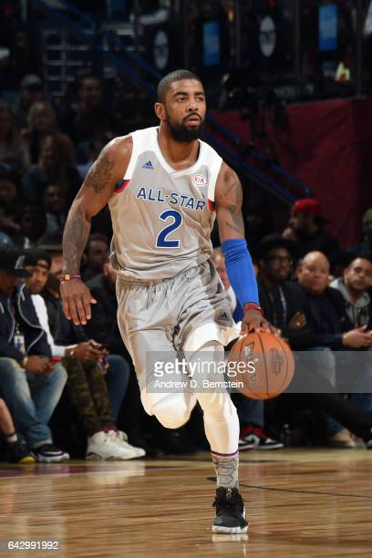 Kyrie Irving of the Eastern Conference AllStar Team handles the ball against the Western Conference AllStar Team during the NBA AllStar Game as part...