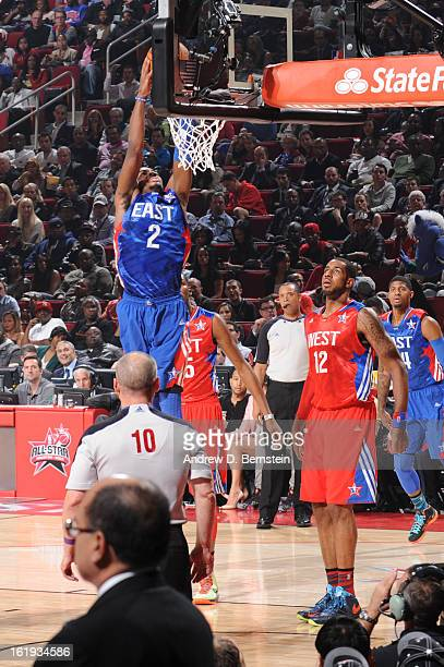 Kyrie Irving of the Eastern Conference AllStars attempts a dunk during the 2013 NBA AllStar Game on February 17 2013 at Toyota Center in Houston...