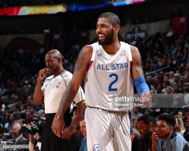 Kyrie Irving of the Eastern Conference AllStars reacts during the NBA AllStar Game as part of the 2017 NBA All Star Weekend on February 19 2017 at...