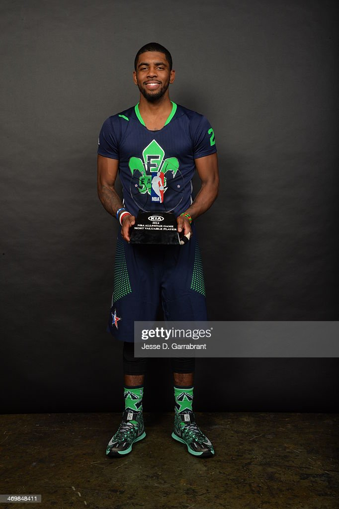 Kyrie Irving #2 of the Eastern Conference poses for a picture after he was awarded the KIA All-Star Game Most Valuable Player Award during 2014 NBA All-Star Game at Smoothie King Center on February 16, 2014 in New Orleans, Louisiana.