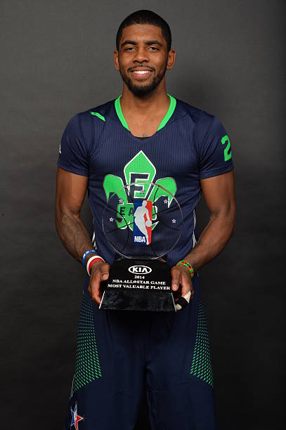 11facb27ea2 ... 16  Kyrie Irving  2 of the Eastern Conference poses for a picture after  he was awarded the KIA All-Star Game Most Valuable Player Award during 2014  NBA ...