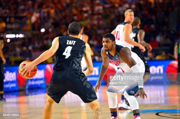 Kyrie Irving of the USA Basketball Men's National Team defends against Lindsay Tait of the New Zealand Basketball Men's National Team during the 2014...