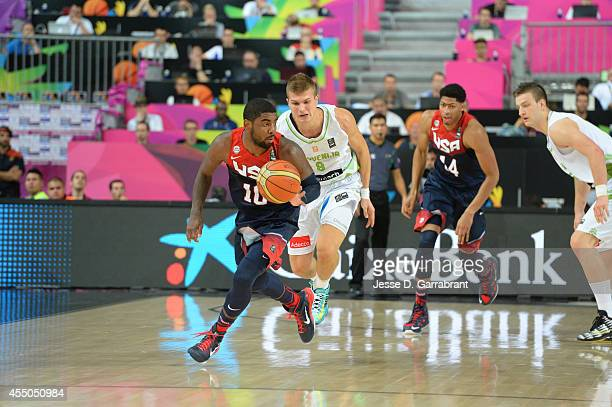 Kyrie Irving of the USA Basketball Men's National Team drives against the Slovenia National Team during the 2014 FIBA World Cup quarter-finals at...