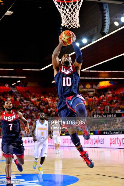 Kyrie Irving of the USA Basketball Men's National Team drives to the basket against the Ukraine Basketball Team during the FIBA 2014 World Cup...