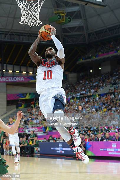 Kyrie Irving of the USA Basketball Men's National Team dunks against the Lithuania National Team during the 2014 FIBA World Cup Semi-Finals at Palau...