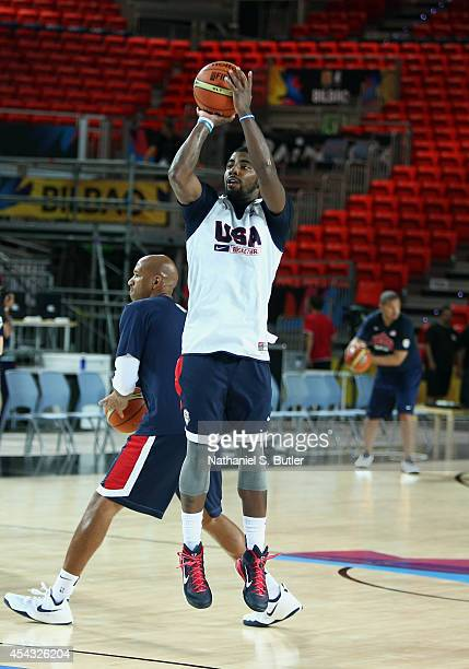 Kyrie Irving of the USA Basketball Men's National Team during a practice for the FIBA World Cup at Bizkaia Arena in Bilbao Exhibition Centre on...