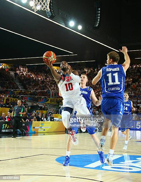 Kyrie Irving of the USA Basketball Men's National Team goes up to shoot during a game against the Finland Basketball Men's National Team during the...
