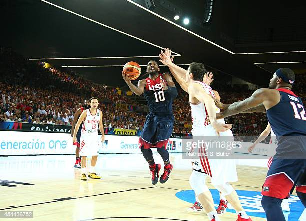 Kyrie Irving of the USA Basketball Men's National Team goes up to shoot during a game against the Turkey Basketball Men's National Team during the...