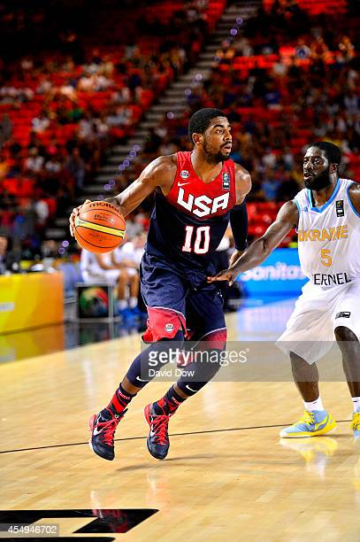Kyrie Irving of the USA Basketball Men's National Team handles the ball against the Ukraine Basketball Team during the FIBA 2014 World Cup Tournament...