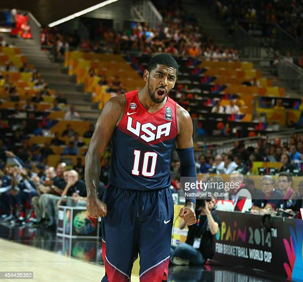 Kyrie Irving of the USA Basketball Men's National Team reacts during a game against the Turkey Basketball Men's National Team during the 2014 FIBA...