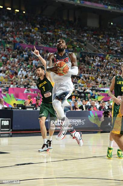 Kyrie Irving of the USA Basketball Men's National Team shoots against the Lithuania National Team during the 2014 FIBA World Cup Semi-Finals at Palau...