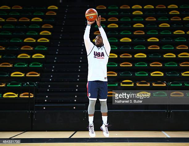 Kyrie Irving of the USA Basketball Men's National Team shoots during a practice for the FIBA World Cup at Bilbao Arena on August 29, 2014 in Bilbao,...