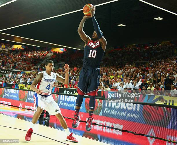 Kyrie Irving of the USA Basketball Men's National Team shoots during a game against the Dominican Republic Basketball Men's National Team during the...