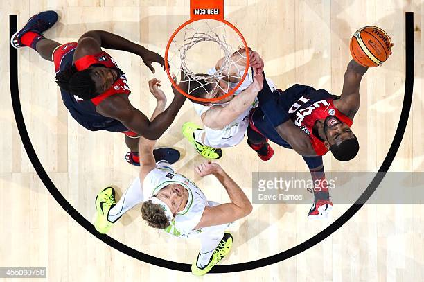 Kyrie Irving of the USA Basketball Men's National Team shoots the ball against Slovenia Basketball Men's National Team during 2014 FIBA Basketball...