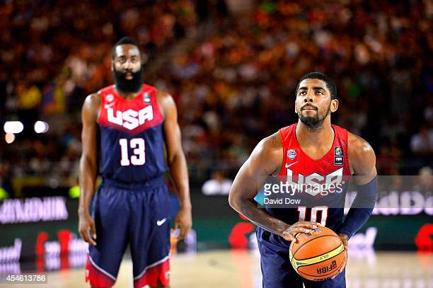Kyrie Irving of the USA Basketball Men's National Team shoots the basketball against the Ukraine Basketball Team during the FIBA 2014 World Cup...