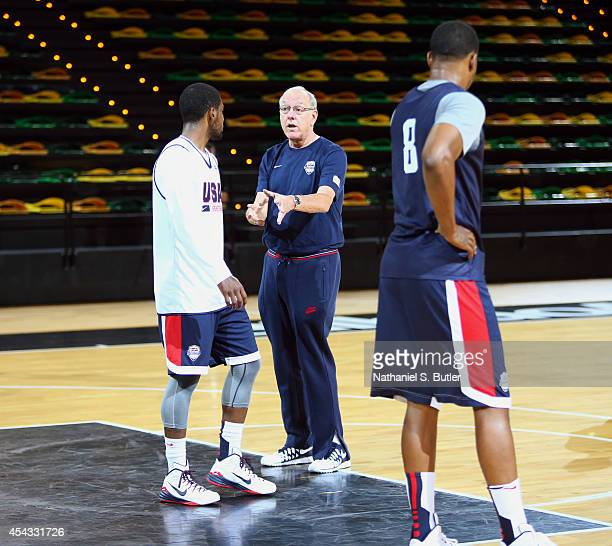 Kyrie Irving of the USA Basketball Men's National Team talks with Assistant Coach Jim Boeheim during a practice for the FIBA World Cup at Bilbao...