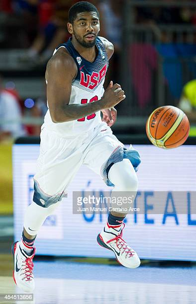 Kyrie Irving of the USA dribbles against New Zealand during their game at the Bilbao Exhibition Center on September 2, 2014 in Bilbao, Spain.