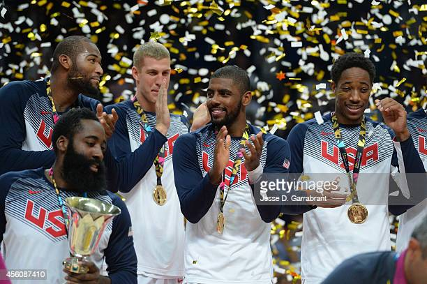 Kyrie Irving of the USA Men's National Team celebrates after defeating the Serbia National Team during the 2014 FIBA World Cup Finals at Palacio de...