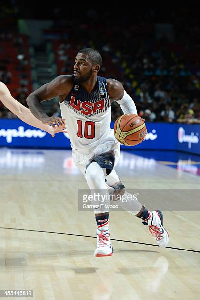 Kyrie Irving of the USA Men's National Team drives against the Serbia National Team during the 2014 FIBA World Cup Finals at Palacio de Deportes on...