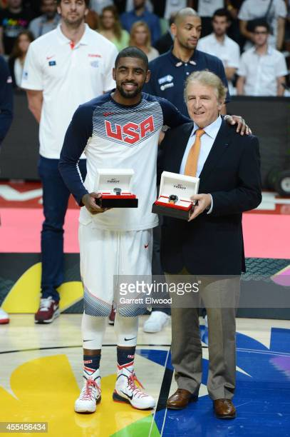 Kyrie Irving of the USA Men's National Team is named the MVP of the tournament after defeating the Serbia National Team in the 2014 FIBA World Cup...