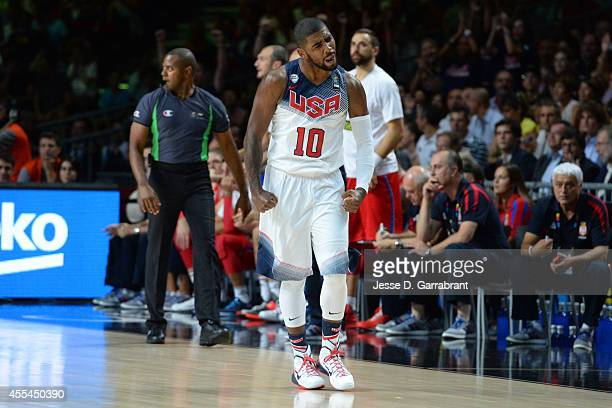 Kyrie Irving of the USA Men's National Team shows emotion against the Serbia National Team during the 2014 FIBA World Cup Finals at Palacio de...
