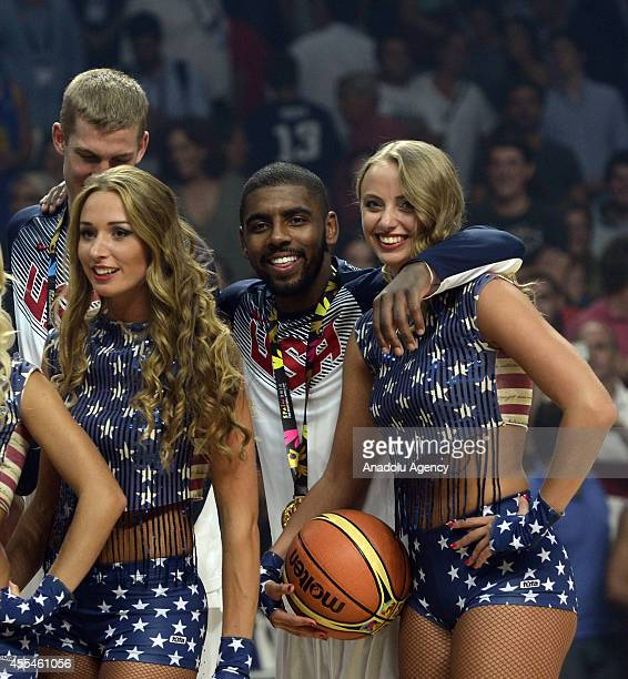 Kyrie Irving of USA is named the MVP of the tournament after winning the 2014 FIBA World Cup Final basketball match between USA and Serbia at the...