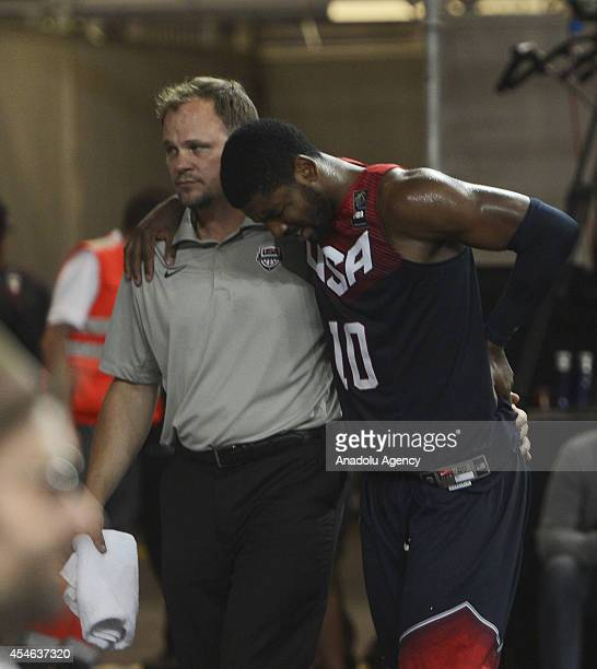 Kyrie Irving of USA leaves the 2014 FIBA World Basketball Championships Group C basketball match between Ukraine and USA due to his injury at Bizkaia...