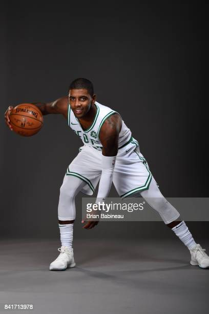 05ba5f0bb5a4 Kyrie Irving poses for a portrait after getting introduced as Boston  Celtics on September 1 2017