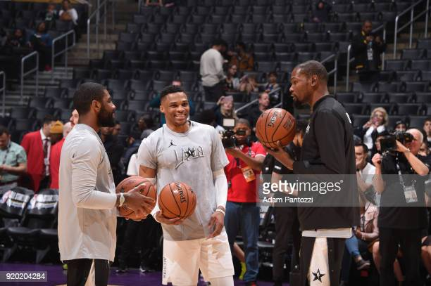 Kyrie Irving Russell Westbrook and Kevin Durant of Team LeBron before the game against Team Stephen during the NBA AllStar Game as a part of 2018 NBA...