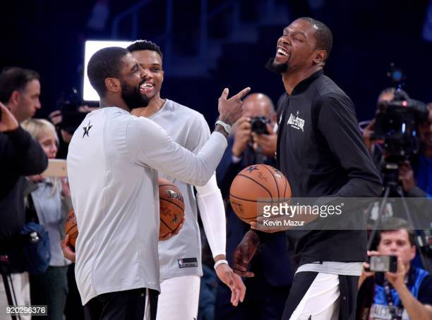 Kyrie Irving Russell Westbrook and Kevin Durant warm up at the 67th NBA AllStar Game Team LeBron Vs Team Stephen at Staples Center on February 18...