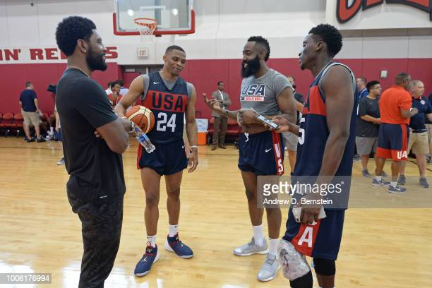 Kyrie Irving Russell Westbrook James Harden and Victor Oladipo talk after USAB Minicamp Practice at Mendenhall Center on the University of Nevada Las...
