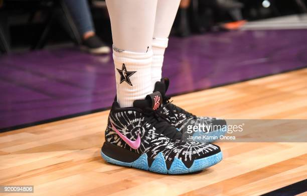Kyrie Irving shoe detail warms up during the NBA AllStar Game 2018 at Staples Center on February 18 2018 in Los Angeles California