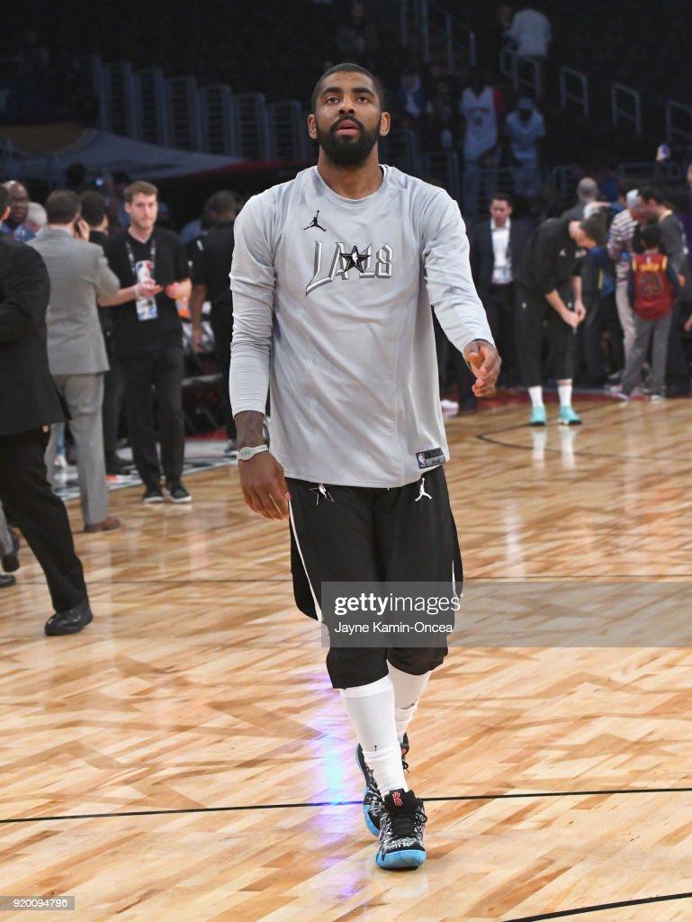 official photos 0b5d6 7b919 Kyrie Irving warms up during the NBA All-Star Game 2018 at ...