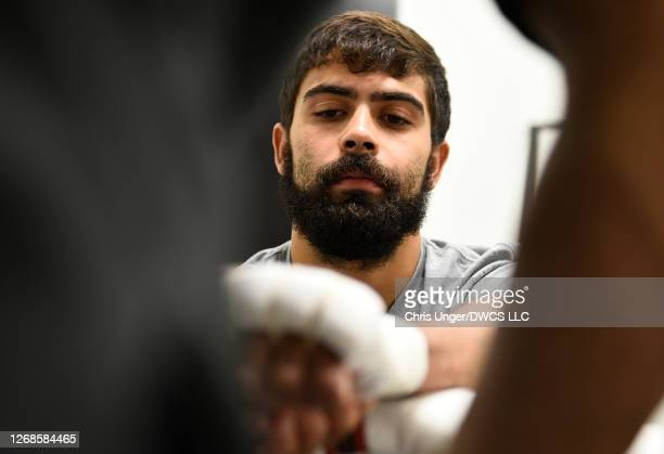 Kyron Bowen has his hands wrapped prior to his fight during week four of Dana White's Contender Series season four at UFC APEX on August 25 2020 in...