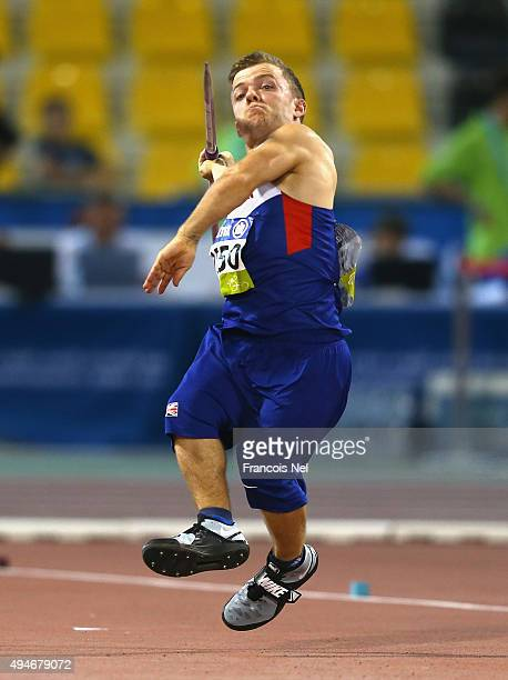 Kyron Duke of Great Britain competes in the men's javelin F41 final during the Evening Session on Day Seven of the IPC Athletics World Championships...