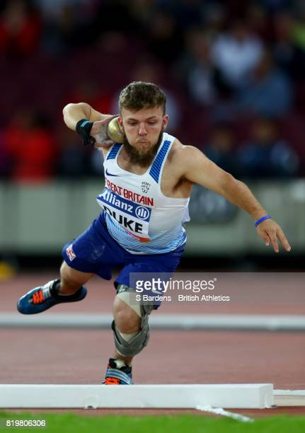 Kyron Duke of Great Britain competes in the Men's Shot Put F41 Final during day seven of the IPC World ParaAthletics Championships 2017 at London...