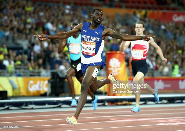 Kyron McMaster of Virgin Islands British celebrates as he crosses the line to win gold in the Men's 400 metres hurdles final during athletics on day...