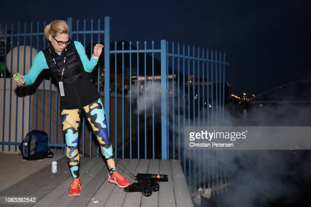 Kyrsten Sinema Senatorelect from Arizona fires the openning cannon during the 2018 Ironman Arizona at Tempe Town Lake on November 18 2018 in Tempe...