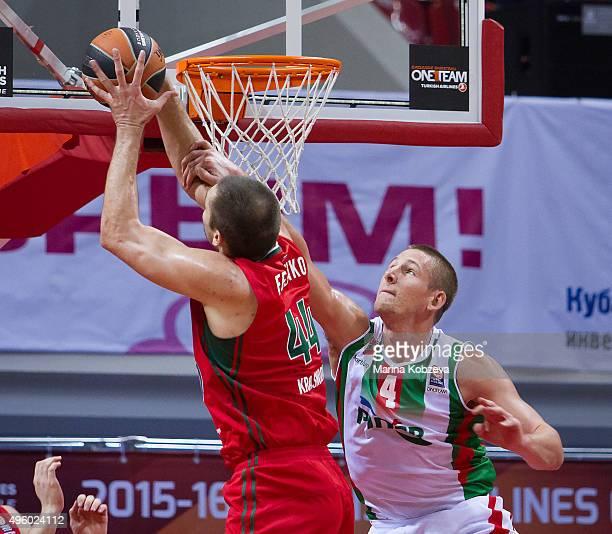 Kyrylo Fesenko #44 of Lokomotiv Kuban Krasnodar competes with Colton Iverson #4 of Pinar Karsiyaka Izmir during the Turkish Airlines Euroleague...