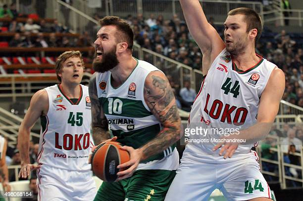 Kyrylo Fesenko #44 of lokomotiv Kuban Krasnodar competes with Miroslav Raduljica #10 of Panathinaikos Athens during the Turkish Airlines Euroleague...
