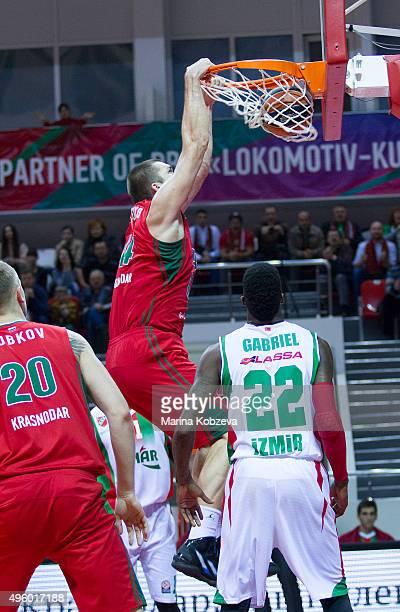 Kyrylo Fesenko #44 of Lokomotiv Kuban Krasnodar in action during the Turkish Airlines Euroleague Basketball Regular Season date 4 game between...