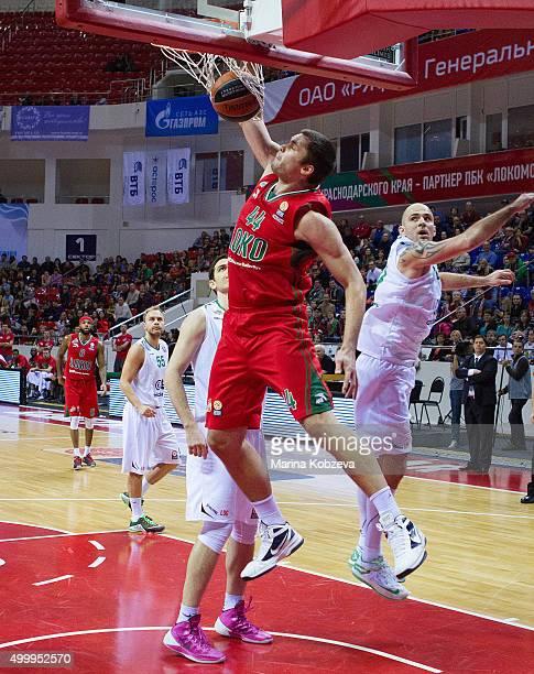 Kyrylo Fesenko #44 of Lokomotiv Kuban Krasnodar in action during the Turkish Airlines Euroleague Basketball Regular Season Round 8 game between...