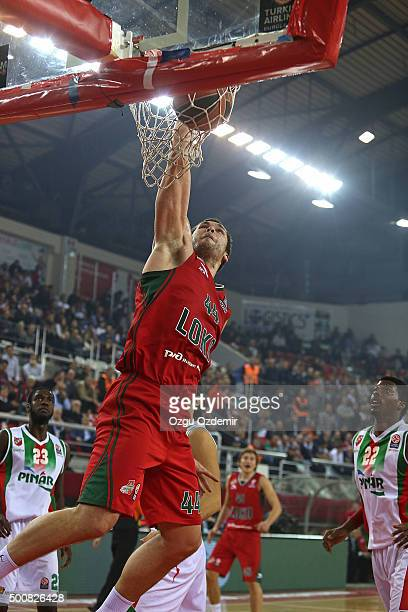 Kyrylo Fesenko #44 of lokomotiv Kuban Krasnodar in action during the Turkish Airlines Euroleague Basketball Regular Season Round 9 game between Pinar...