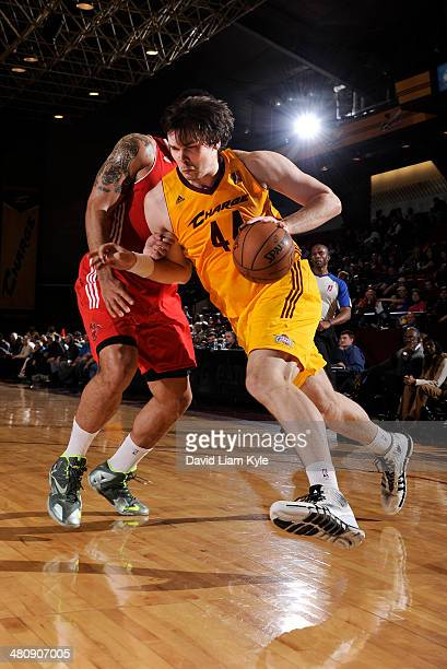 Kyrylo Fesenko of the Canton Charge drives to the hoop against Damen BellHolter of the Maine Red Claws at the Canton Memorial Civic Center on March...