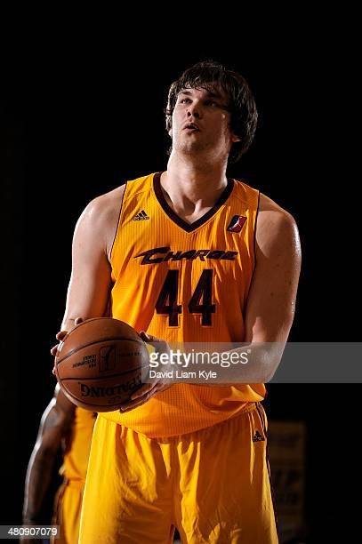 Kyrylo Fesenko of the Canton Charge prepares for a free throw attempt against the Maine Red Claws at the Canton Memorial Civic Center on March 26...