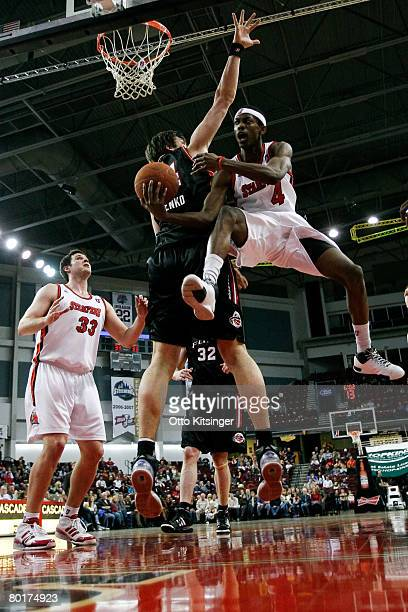 Kyrylo Fesenko of the Utah Flash goes up against Mike Taylor of the Idaho Stampede during the DLeague game at Qwest Arena March 8 2008 in Boise Idaho...