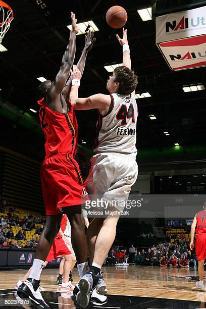 Kyrylo Fesenko of the Utah Flash puts the ball up over the Idaho Stampede on March 13, 2008 at the David O. McKay Events Center in Orem, Utah. NOTE...