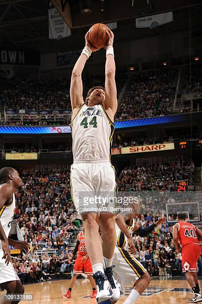 Kyrylo Fesenko of the Utah Jazz grabs a rebound during a game against the Chicago Bulls at EnergySolutions Arena on February 9 2011 in Salt Lake City...